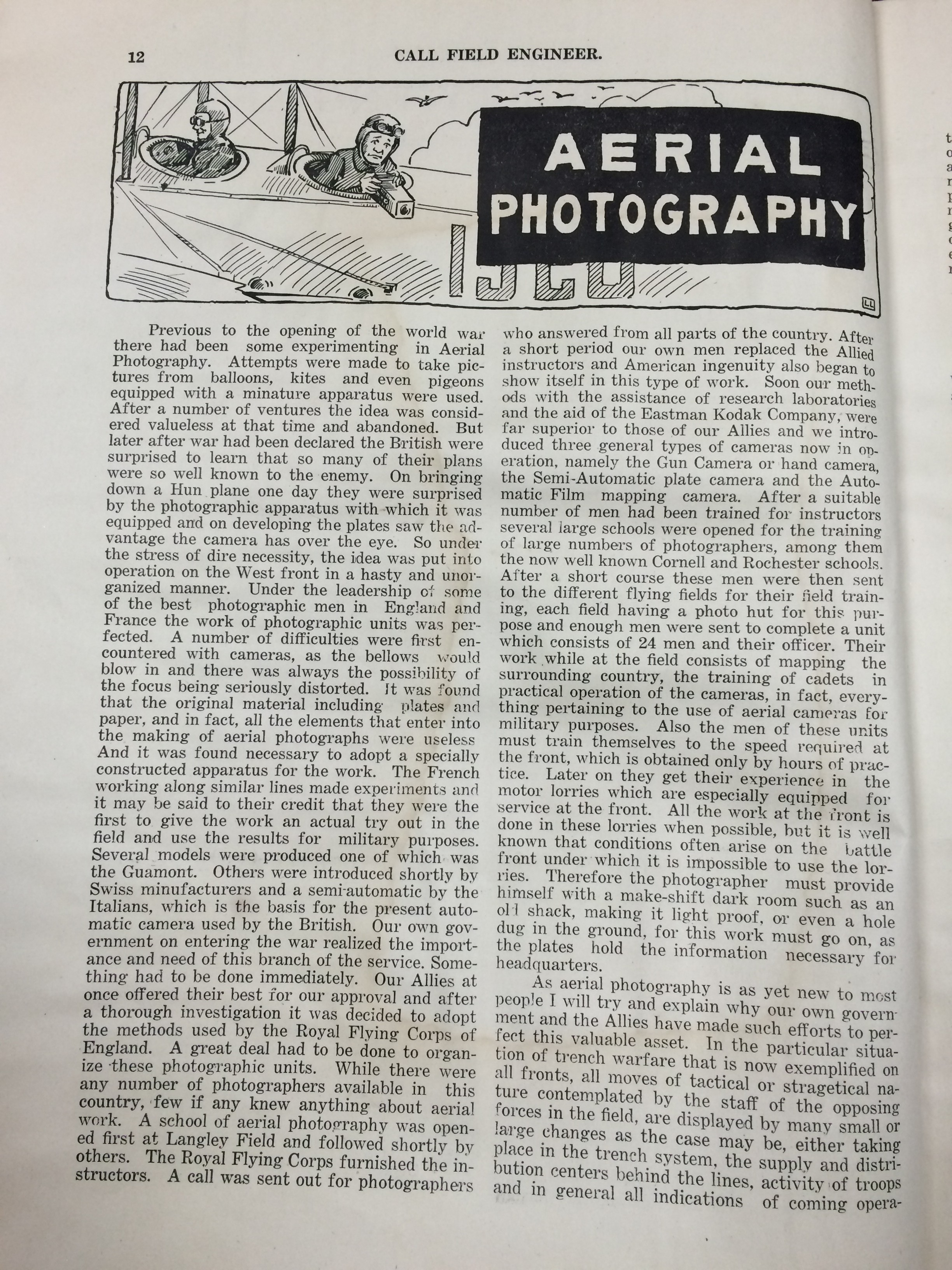 Image 14 August 15, 1918 Call Field Engineer