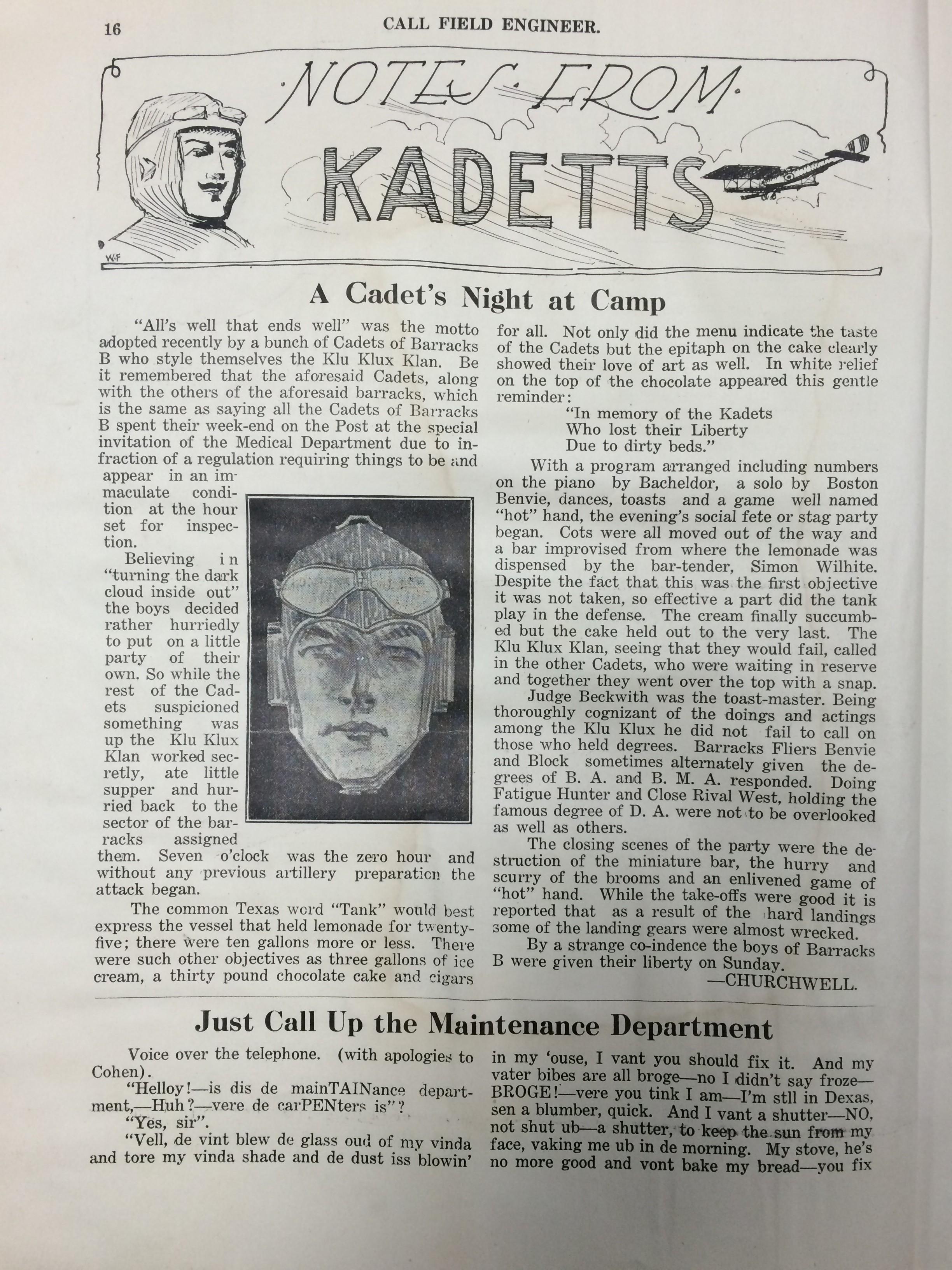 Image 18 August 15, 1918 Call Field Engineer