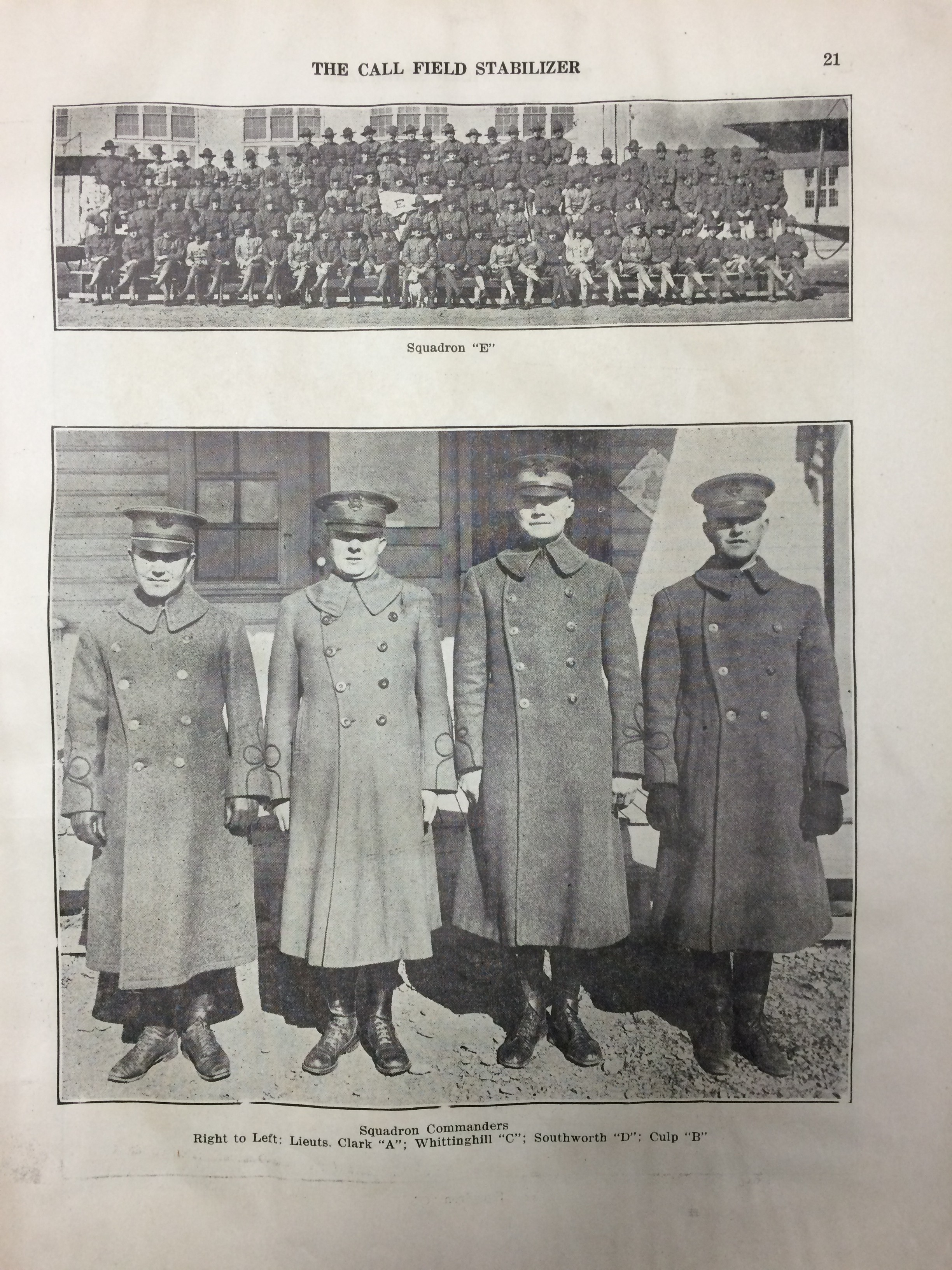 Image 21 December 15, 1918 Call Field Stabilizer