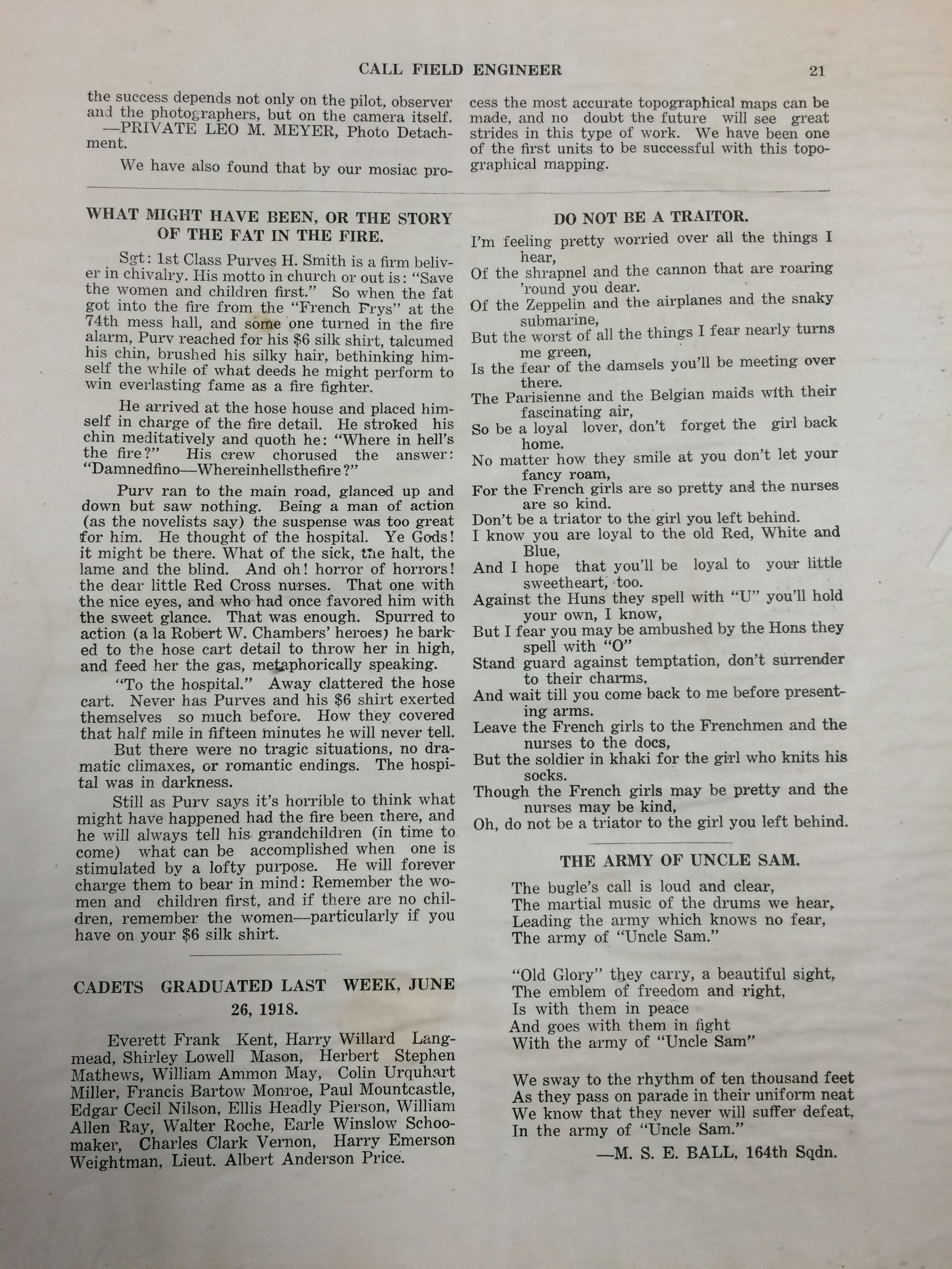 Image 23 July 1918 Call Field Engineer